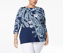 Charter Club Plus Size Boat-Neck Printed Top,  Intrepid Blue