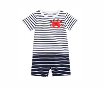 First Impressions Striped Crab Cotton Romper, Navy/White