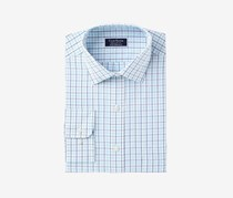 Club Room Men's Classic/Regular-Fit Plaid Dress Shirt, White/Turq