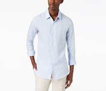 Tasso Elba Mens Cross-Dyed Linen Shirt, Cloud Combo