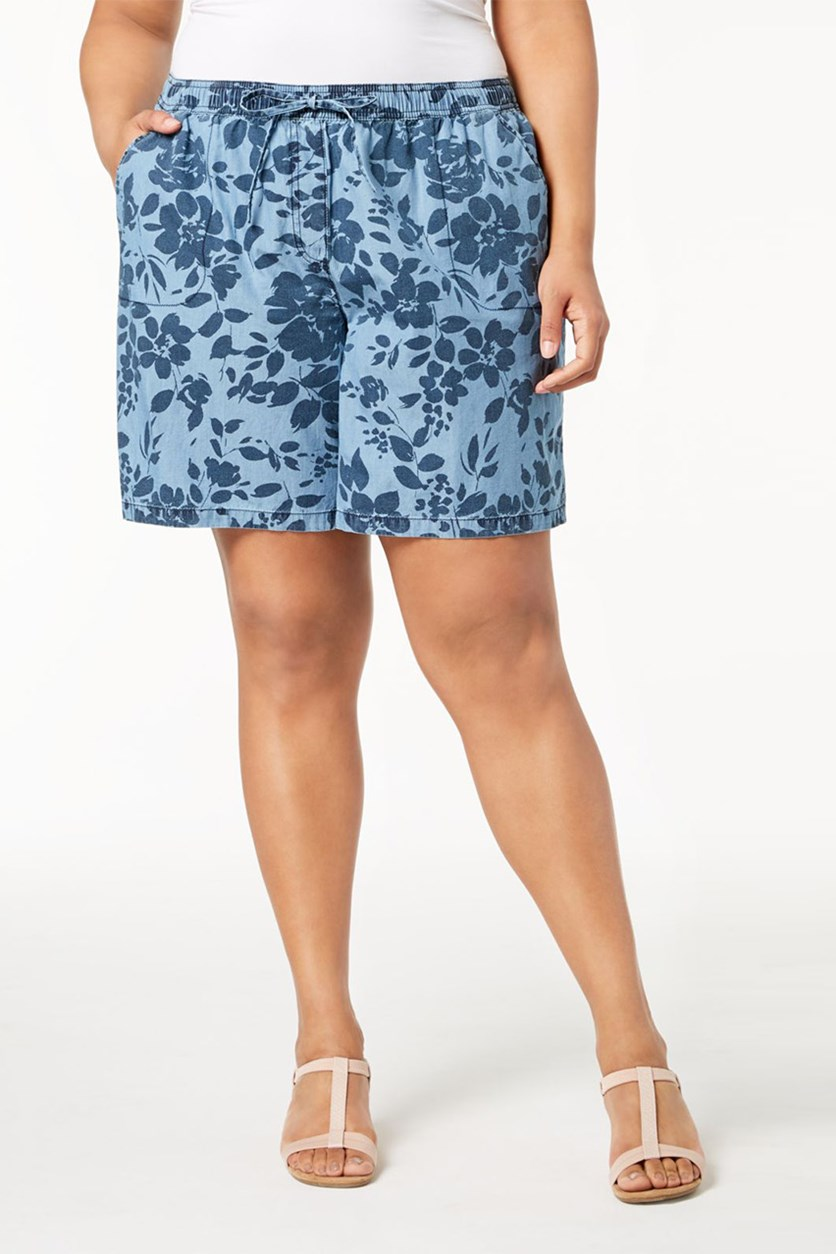 Plus Size Floral-Print Soft Short, Chambray Combo