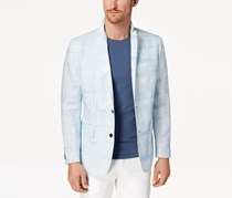 INC Men's Slim-Fit Abstract Windowpane Blazer, Light Blue