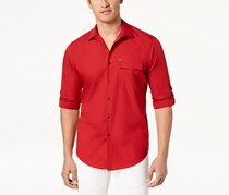 International Concepts Mens Utility Shirt, Red Combo
