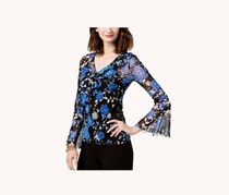 INC International Concepts 2-pc Garment Printed Bell-Sleeve Mesh Top, Blue Floral