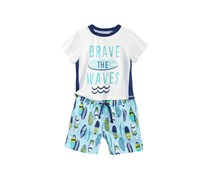 First Impressions 2-Pc. Rash Guard & Swim Trunks Set, Navy Nautical Combo