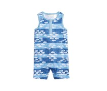 Baby Boys Fish-Print Cotton Romper, Washed Blue