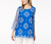 Alfani Embroidered Sheer-Sleeve Top, Blue Sky Embellishment