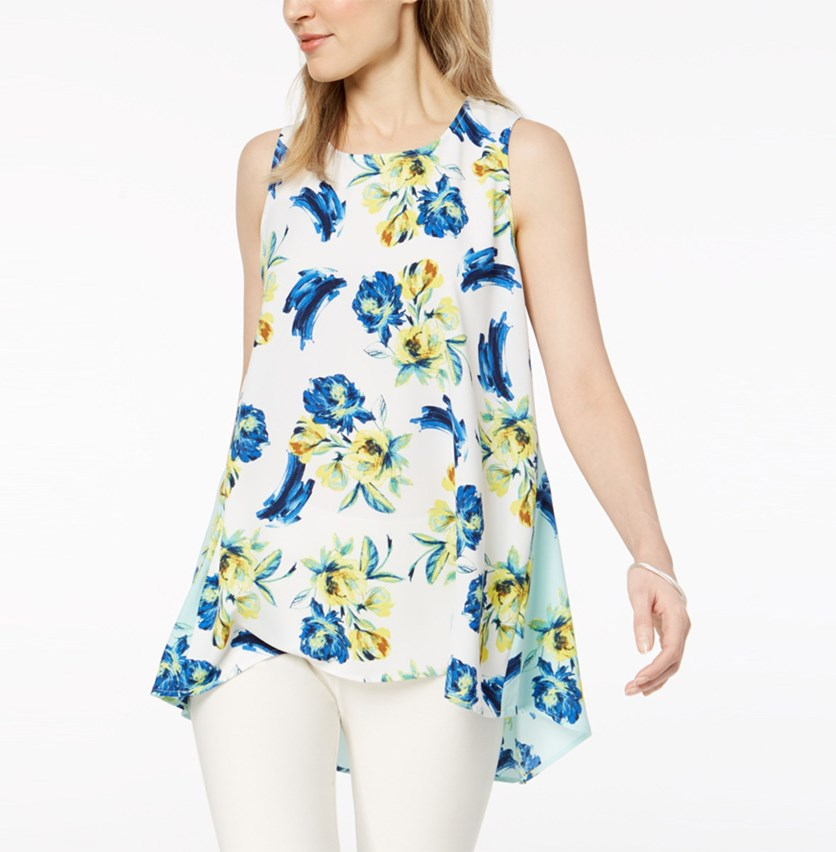 Petite Floral-Print Swing Top, White Combo