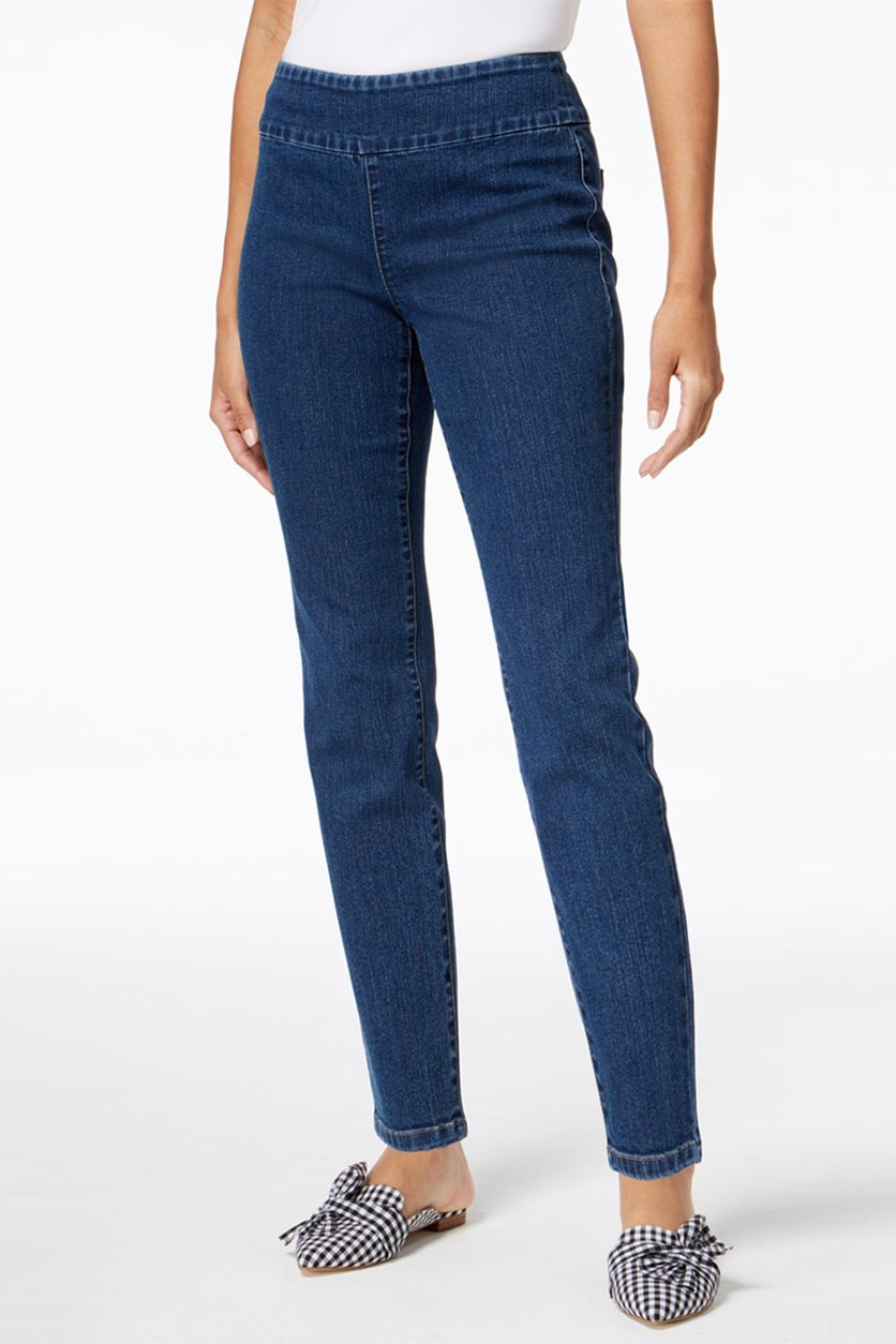 Women Pull-On Cropped Skinny Jeans, Melrose Wash Blue