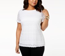 Charter Club Plus Size Lace Top, Bright White