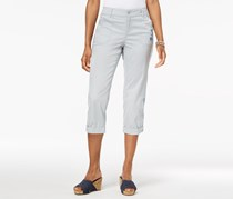 Style & Co Embroidered Capri Pants, Misty Harbor