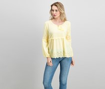 Style & Co Eyelet Bell-Sleeve Top, Yellow Breeze