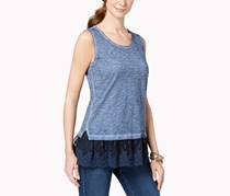 Style & Co Embroidered-Hem Tank Top, New Uniform Blue