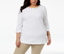Women Plus Size Studded Crinkle Top, Bright White