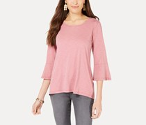 Style & Co Cotton Bell-Sleeve Bustle-Back Top, Mesa Rose