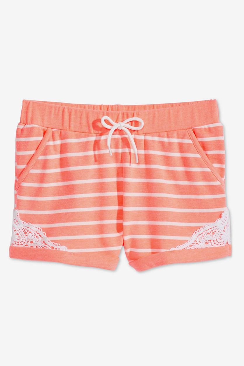 Kids Girls Striped Crochet-Trim Shorts, Peach Smoothie