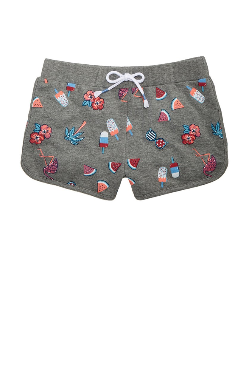 Printed Dolphin Shorts, Gray Combo