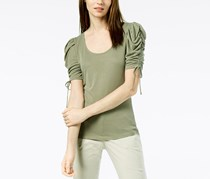 International Concepts Ribbed Puffed-Sleeve T-Shirt, Olive Drab
