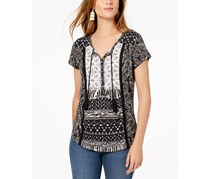 Style & Co Petite Mixed-Print Peasant Top, Black Batik