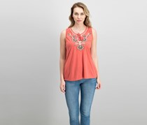 Style & Co Petite Embroidered Split-Neck Top, Pimpernel Bali