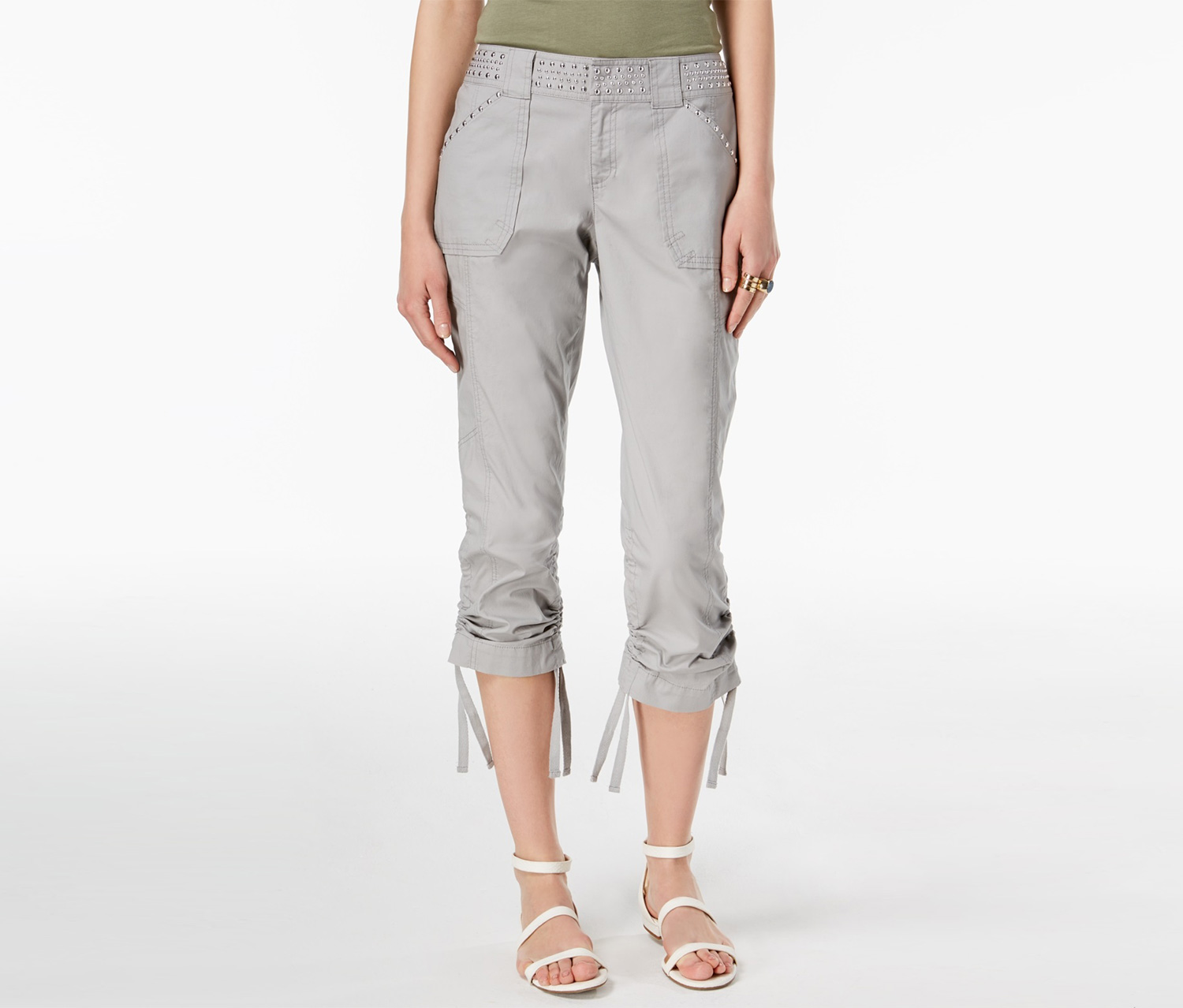 INC Womens Studded Curvy Fit Cargo Pants, Sky Grey
