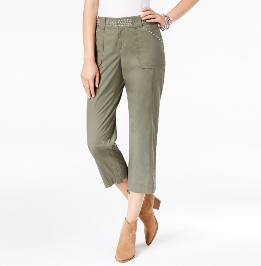 I.n.c. Curvy-Fit Studded Cargo Pants, Olive Drab