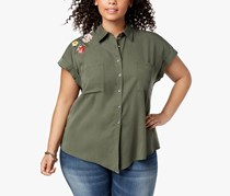 Style & Co Plus Size Embroidered Shirt, Floral Gestures