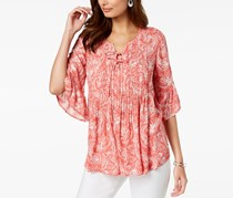 Style Co Petite Printed Pleated Top, Idealic Paisley