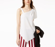 Bar III Asymmetrical One-Shoulder Top, Off White
