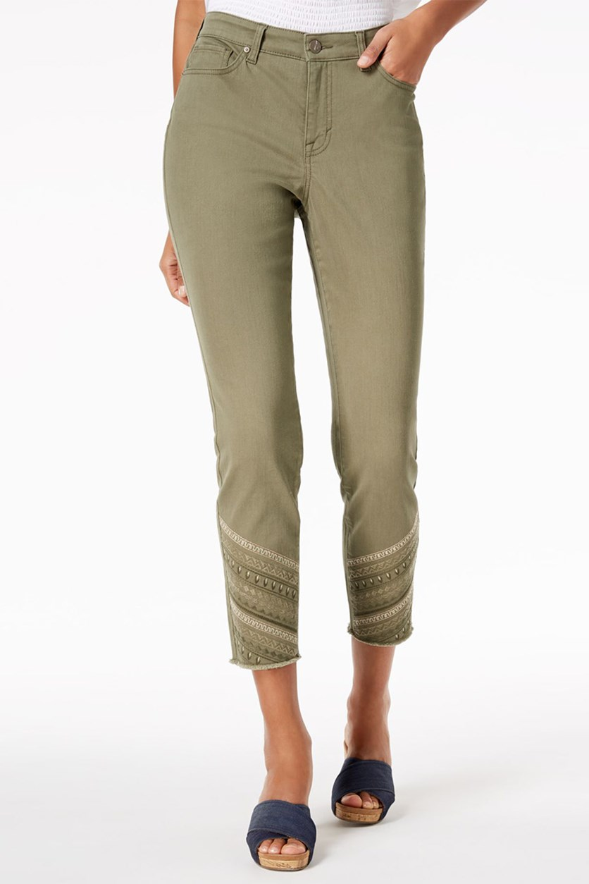 Women's Petite Embroidered Skinny Ankle Jeans, Olive Sprig