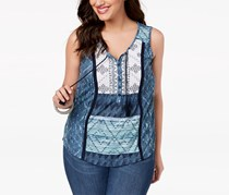 Style & Co Plus Size Mixed-Print Sleeveless Peasant Top, Weekend Escape