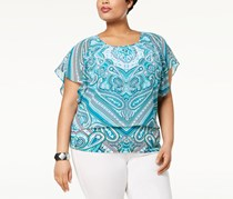 JM Collection Plus Size Printed Flutter-Sleeve Tops, Majestic Man