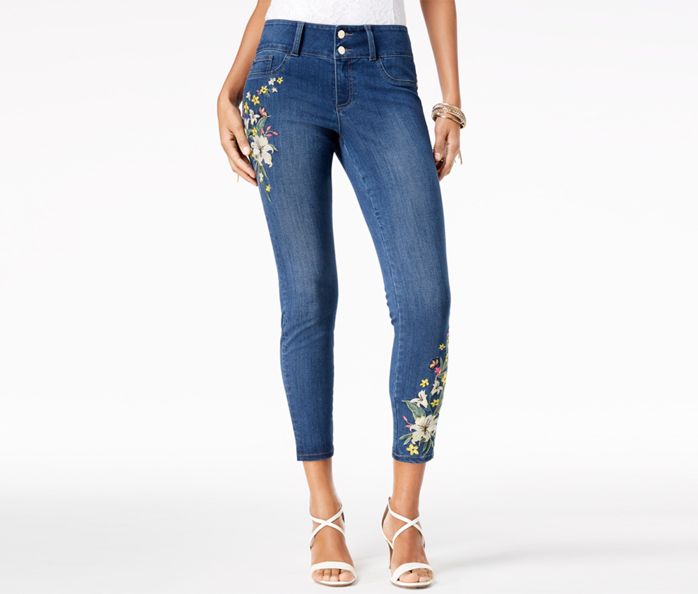 Embroidered Ankle Skinny Jeans, Medium Wash