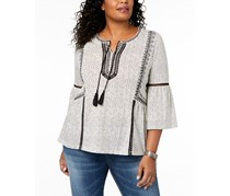 Style & Co Plus Size Crochet-Trim Bell Sleeve, Ivory Tapestry