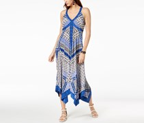 INC Petite Printed Handkerchief-Hem Maxi Dress, Global Patch