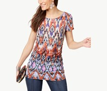 INC International Concepts Printed Ruched Burnout Top, Wild West