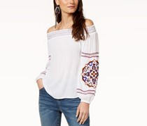 INC International Concepts Off-The-Shoulder Embroidered Top, White Combo