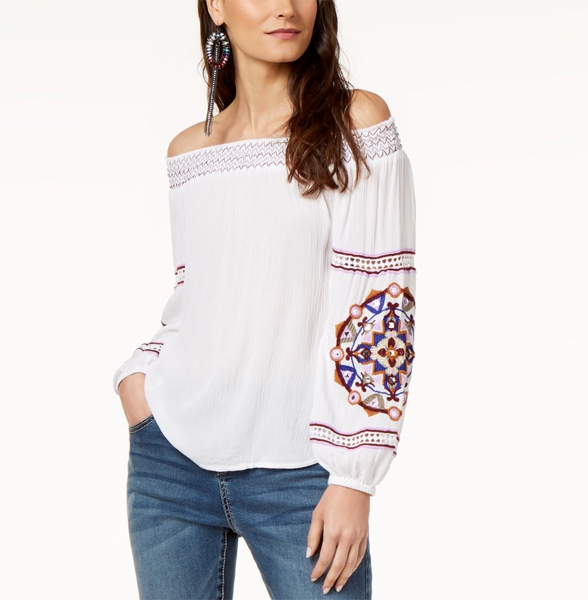 International Concepts Off-The-Shoulder Embroidered Top, White Combo