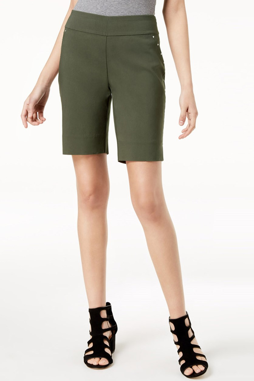 International Concepts Stud-Trim Bermuda Shorts, Olive Drab