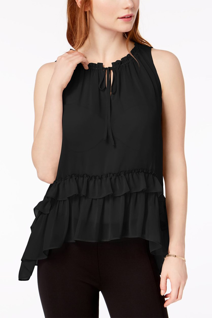 Ruffled High-Low Top, Black