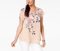 Style Co Floral-Print Swing Top, Orchid Shimmer