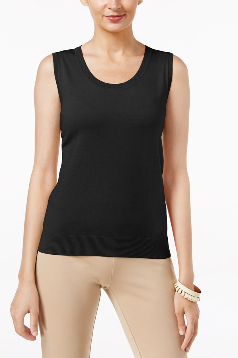 Sleeveless Scoopneck Top, Black