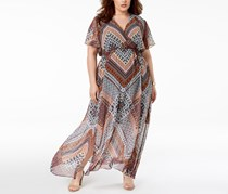 INC International Concepts Plus Size Printed Maxi Dress, Global Patchwork