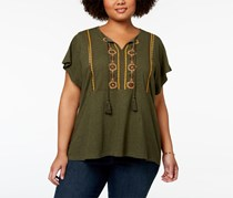Style & Co Plus Size Embroidered Peasant Top, Oliva Mirror