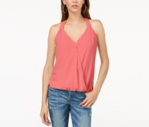 INC Surplice Blouson Tank Top, Polished Coral