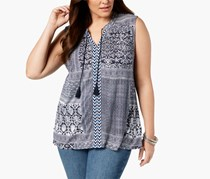 Style & Co Plus Size Printed Sleeveless Peasant Top, Intrepid Blue Combo