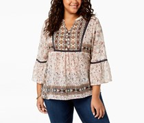 Style & Co Plus Size Mixed-Print Peasant Blouse, Tapestry Allure