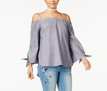 7 Sisters Juniors Knot-Sleeve Off-The-Shoulder Tops, Navy/White