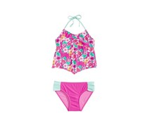 Summer Crush Big Girls 2-Pc. Floral-Print Tankini, Pink Combo