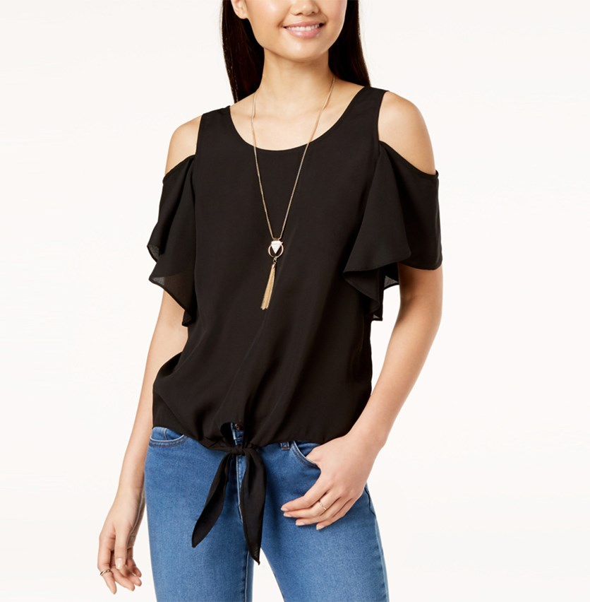 Juniors Tie-Front Cold-Shoulder Top with Necklace, Black
